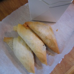 Samosas ready for takeout